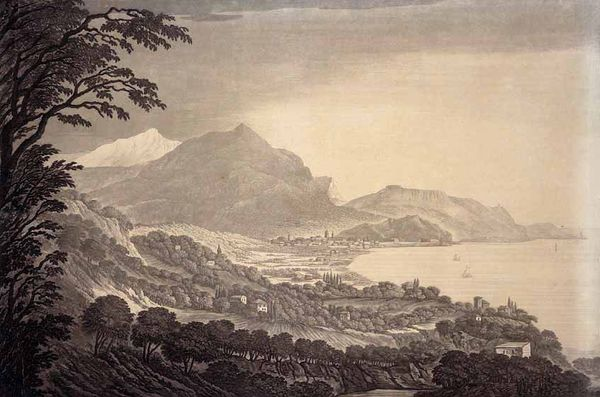 Mary Harcourt A View of Nice taken from a Villa near the road to the Varaquarelle gravée par Maria Catharina Prestel